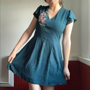 Teal embroidered dress